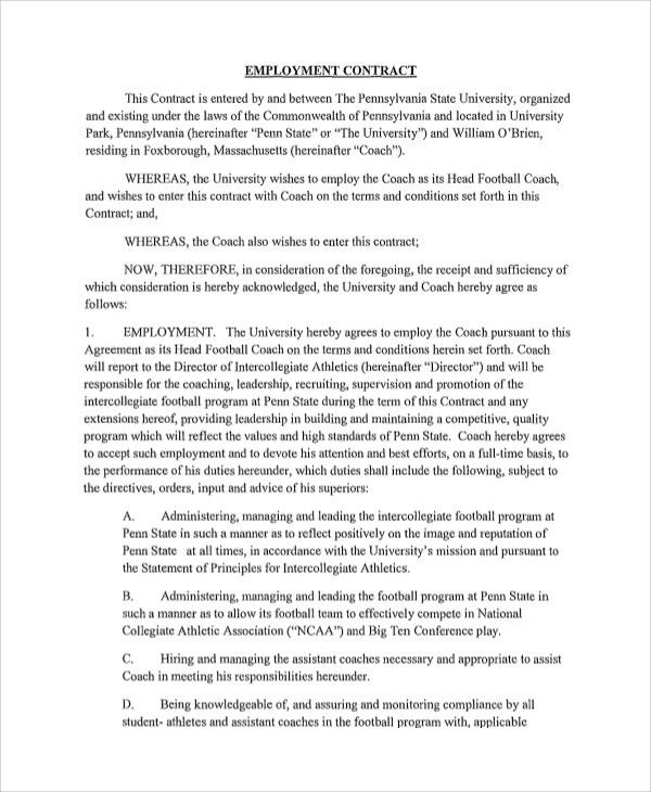 Sample Employment Contract - 7+ Documents in Word, PDF