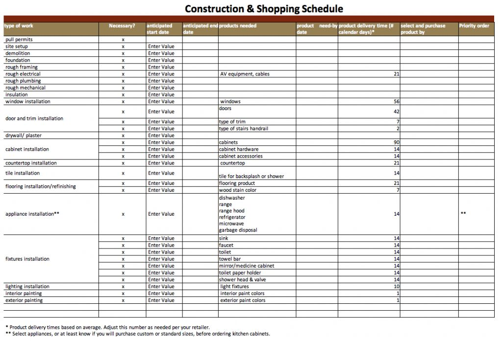 Construction Schedule Template Excel Free Download | Template Design