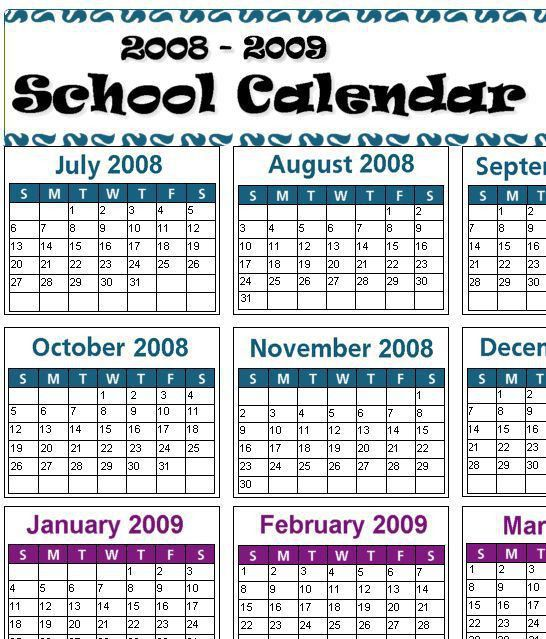 School Year Calendar Templates