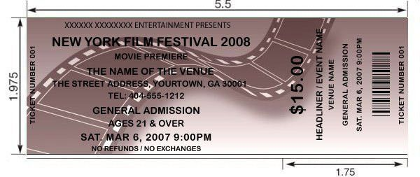 Film Festival tickets. Design and print your own Film Festival and ...