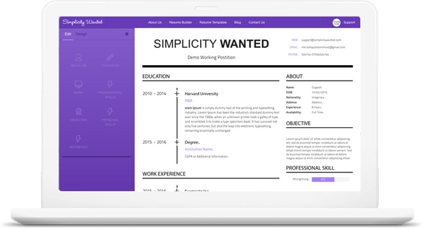 Resume Builder • Simplicity Wanted