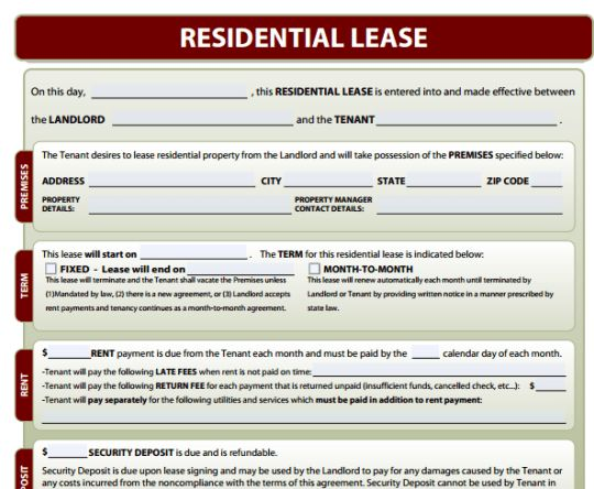 Free Lease Agreement Form Template ...