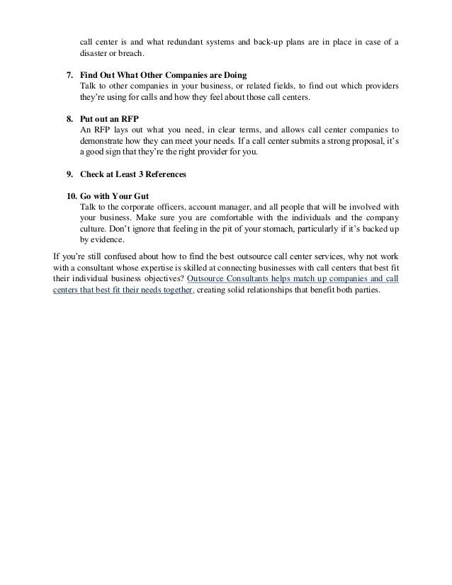 10 Critical Criteria for Choosing an Outsource Call Center