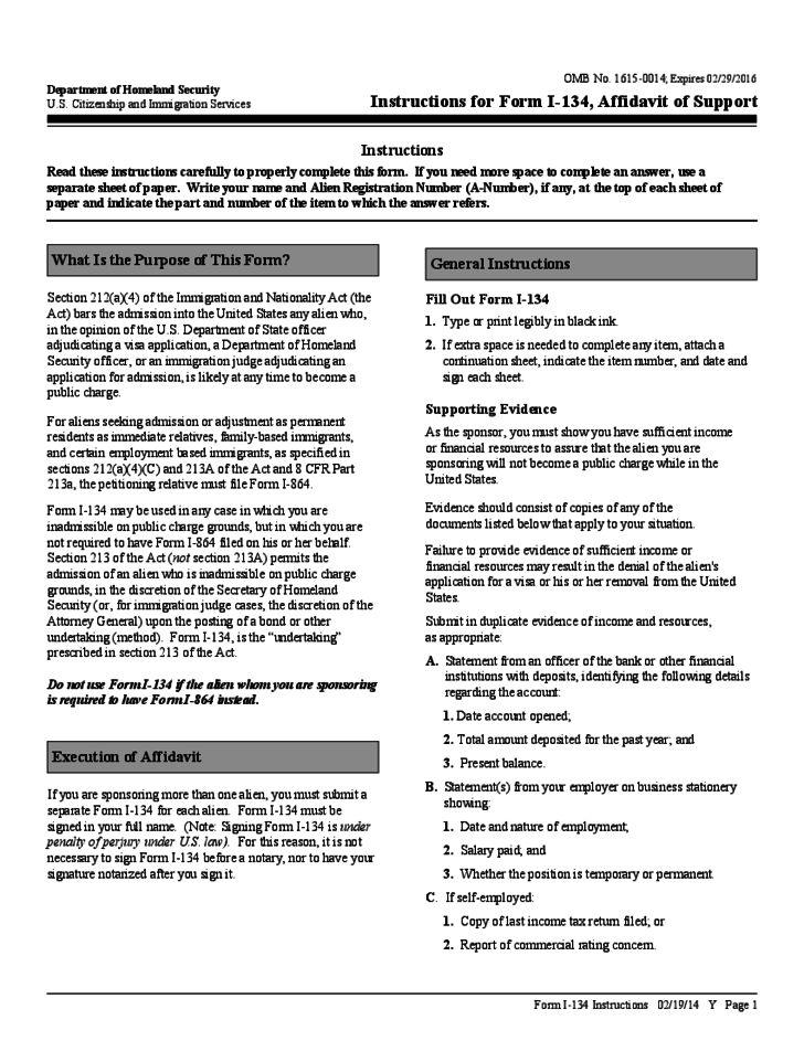 Sample Form for Affidavit of Support Free Download