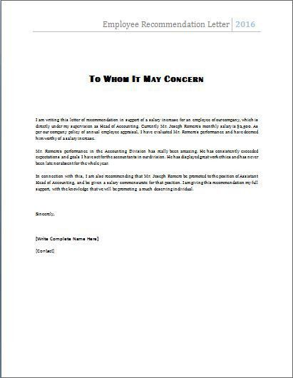 Sample Reference Letter For Great Employee - Resume Acierta.us