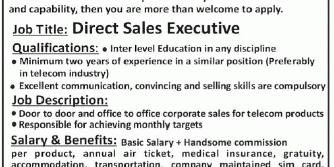 Direct Sales Executive Job in Telecom Direct Sales UAE Based Company