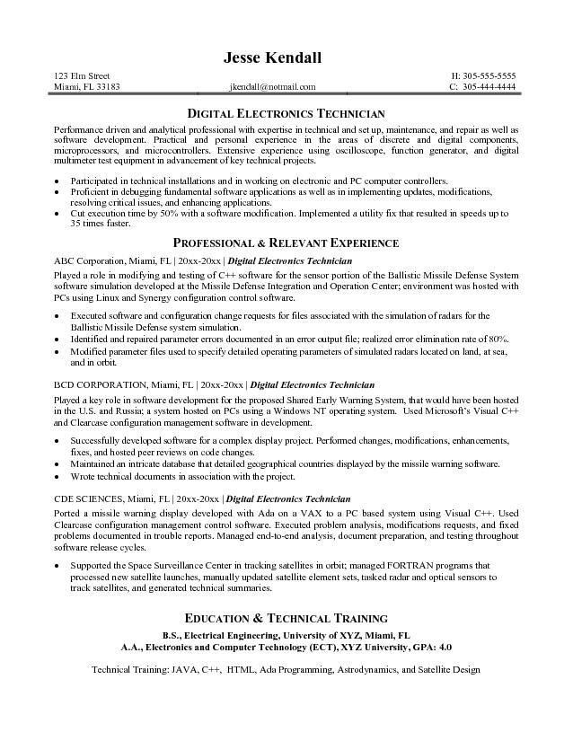 computer tech resume free computer technician resume example ...