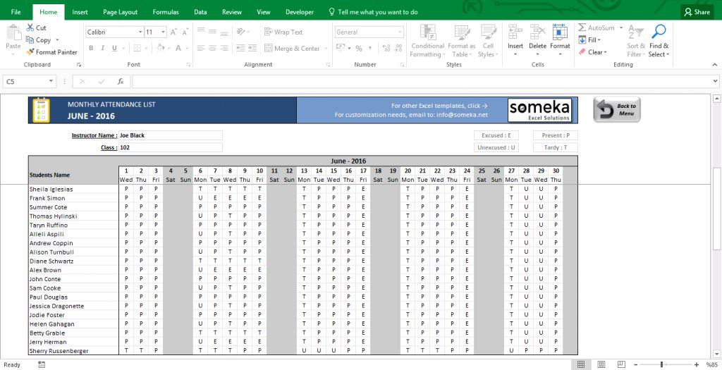 Attendance Sheet Printable Excel Template Free Download Screenshot ...