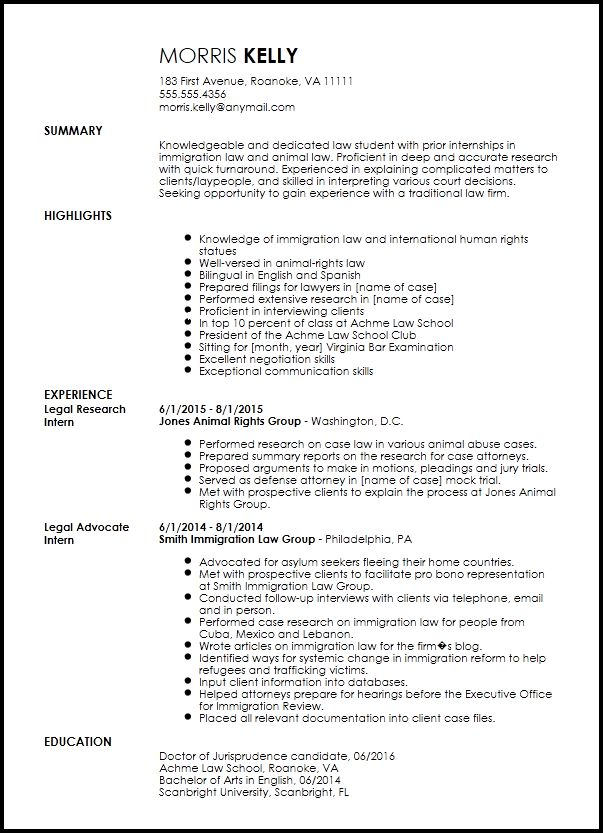 Free Traditional Legal Internship Resume Template | ResumeNow