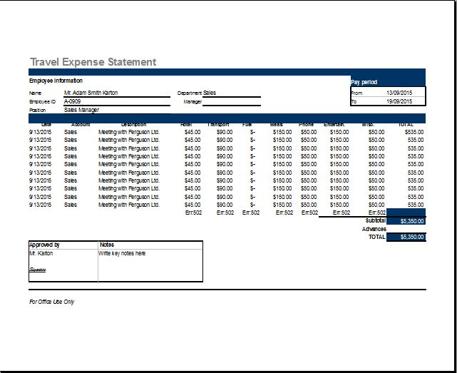 MS Excel Travel Expense Report Template | Word & Excel Templates