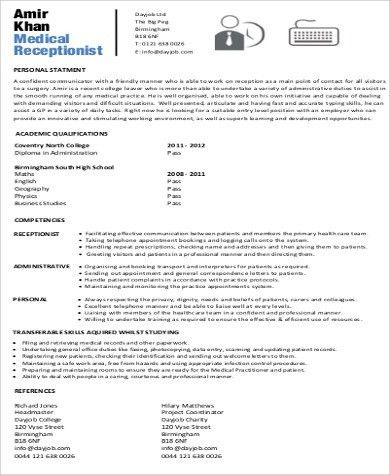 Receptionist Resume Objective - 7+ Examples in Word, PDF