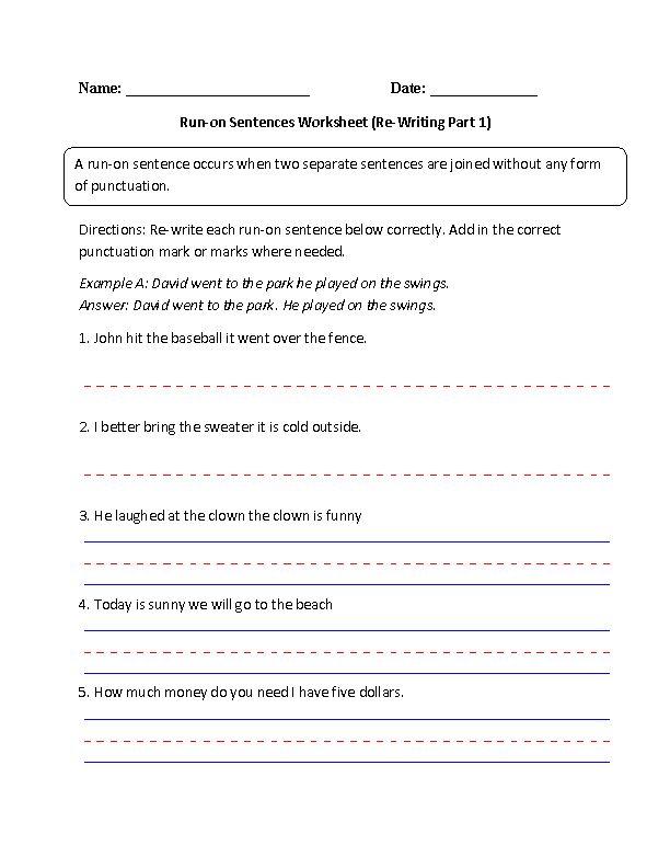Sentences Worksheets | Run on Sentences Worksheets