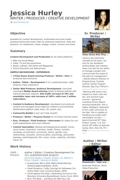 Author Resume samples - VisualCV resume samples database