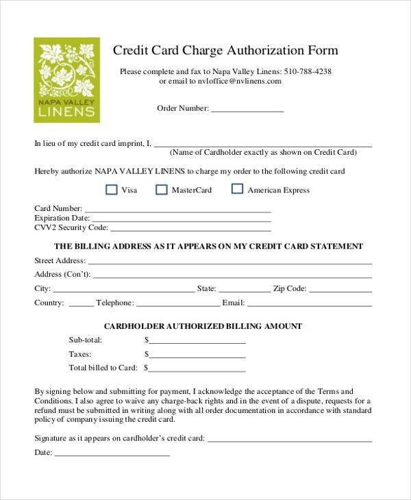 Sample Credit Card Authorization Form - 12+ Free Documents in Word ...