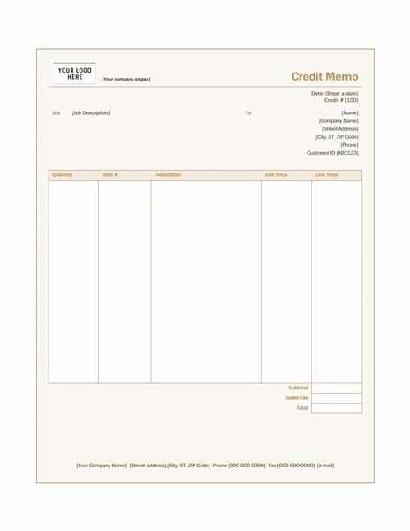 Credit memo (Sienna design) - Office Templates