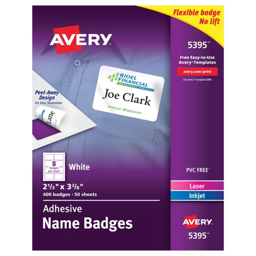 Avery Flexible Name Badge Labels 2 13 x 3 38 White Box Of 400 by ...