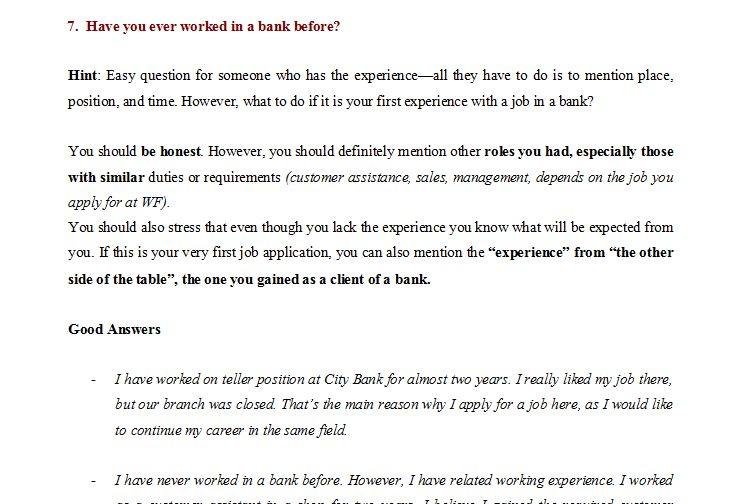 Wells Fargo Interview Guide - Questions and Answers and Unique Tips