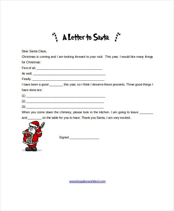 Santa Letter Template - 9+ Free Word, PDF, PSD Documents Download ...