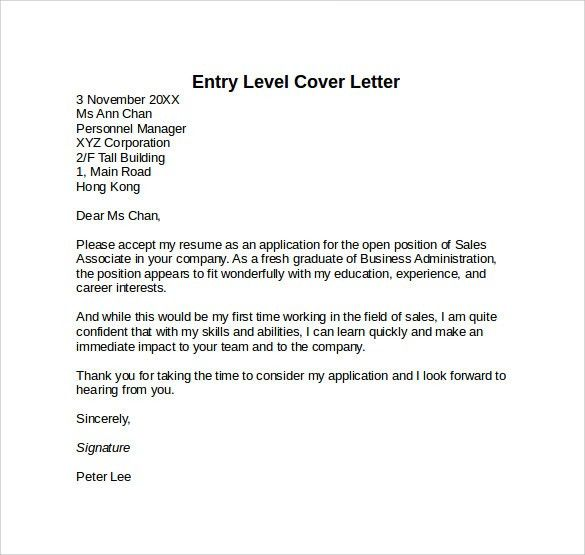 Entry Level Cover Letter Templates - 9+ Free Samples, Examples ...