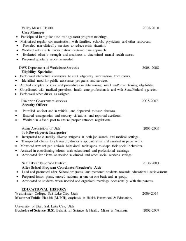 inspiring case manager resume to be successful in gaining new job ...