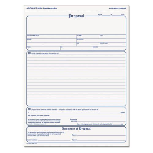 Doc.#12751650: Free Construction Proposal Forms – Printable Blank ...