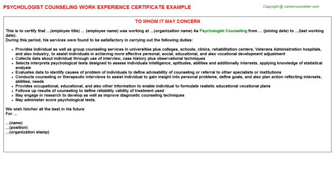 Psychologist Counseling Work Experience Certificate