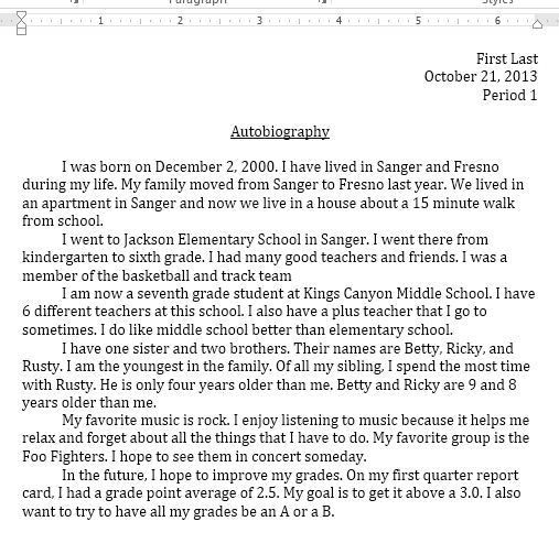 Autobiography Report - Middle School Computer Projects