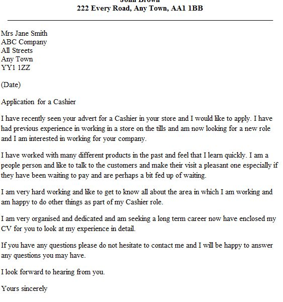 Classy Ideas Cover Letter For Cashier 1 Example - CV Resume Ideas