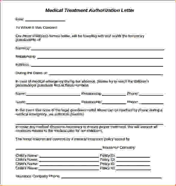 5+ medical treatment authorization letter | Procedure Template Sample