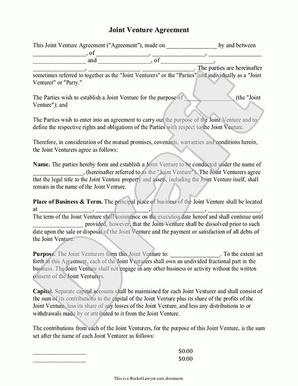 Joint Venture Agreement Template.Joint Venture Business Agreement ...