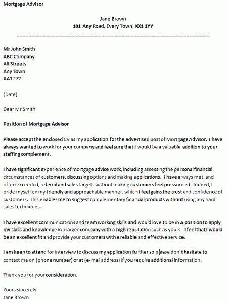 Cover Letter for a Mortgage Advisor - icover.org.uk
