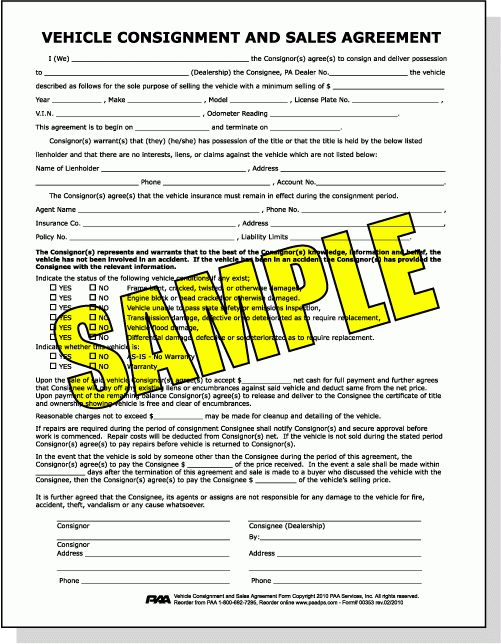 Vehicle Consignment and Sales Agreement Form