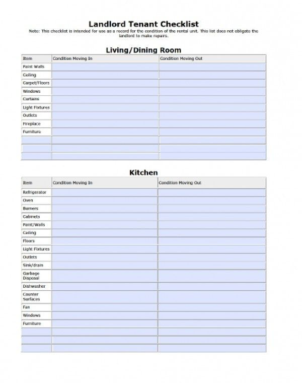 Free Landlord/Tenant Move-in Move-out Checklist | PDF | Word (.doc)