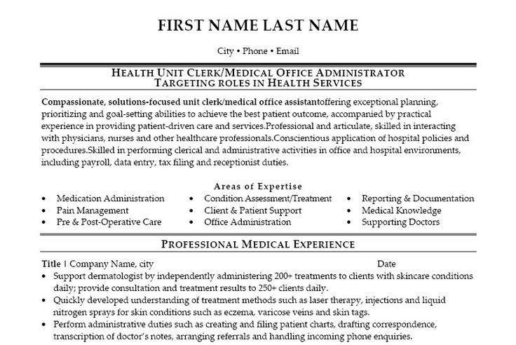 Medical Office Resume Sample | Free Resumes Tips