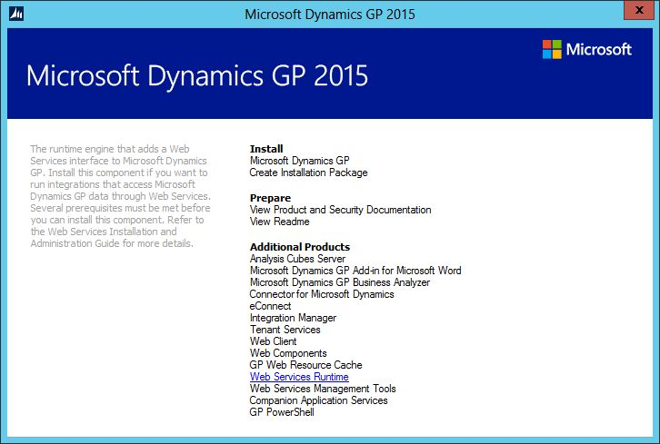 Hands On With Microsoft Dynamics GP 2015 R2: Install Web Services ...