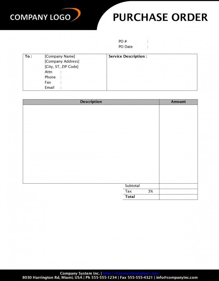 Form Template Blank Purchase Order Form Template Free Purchase ...