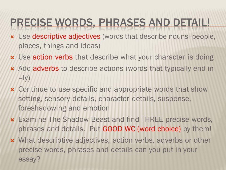 Descriptive essay example