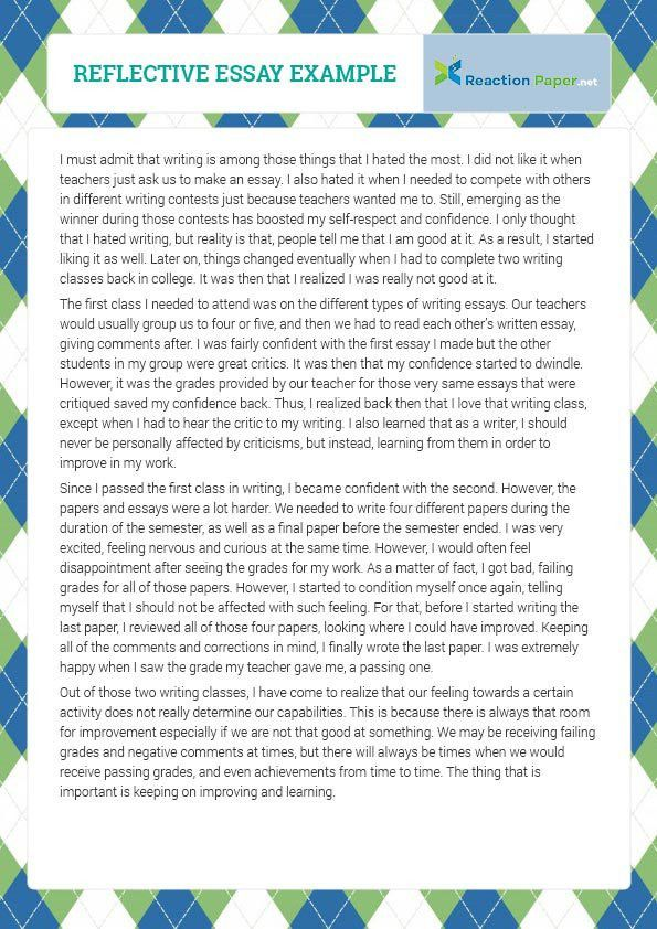 Reflective essay example which will help you write your essay and ...