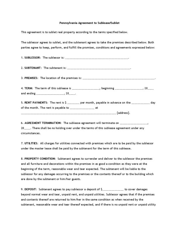 Pennsylvania Rental Lease Agreement Templates | LegalForms.org