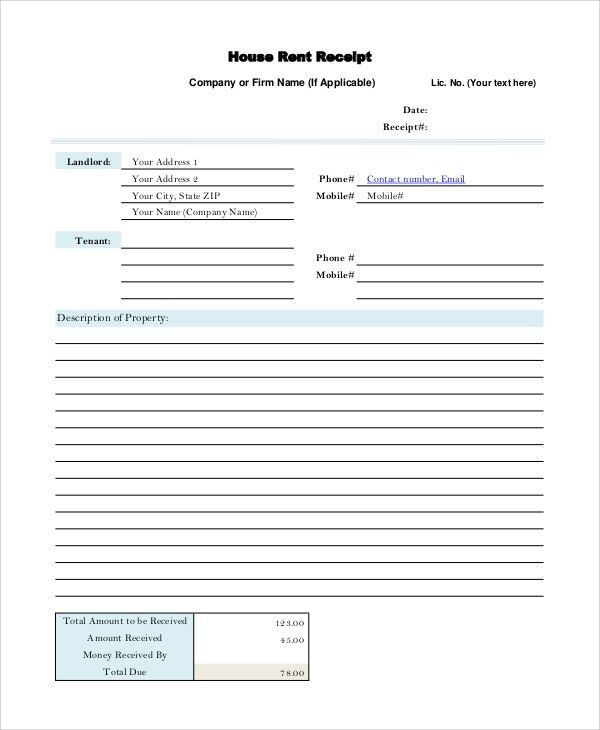 Sample Rental Receipt - 10+ Examples in PDF, Word