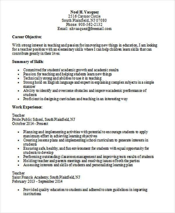 Educational Resume, teacher resume examples. gallery of teacher ...