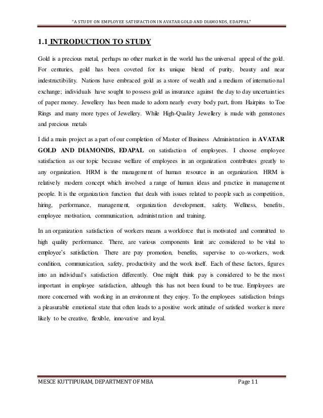 PROJECT REPORT ON EMPLOYEE SATISFACTION (sample)