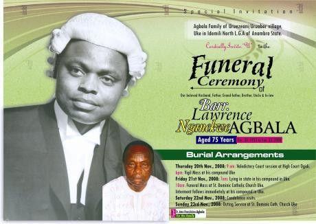 Funeral Invitation - lawrence agbala - Online Memorial Website