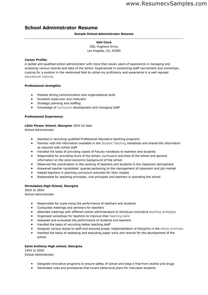 school administrator resume sample school administrator