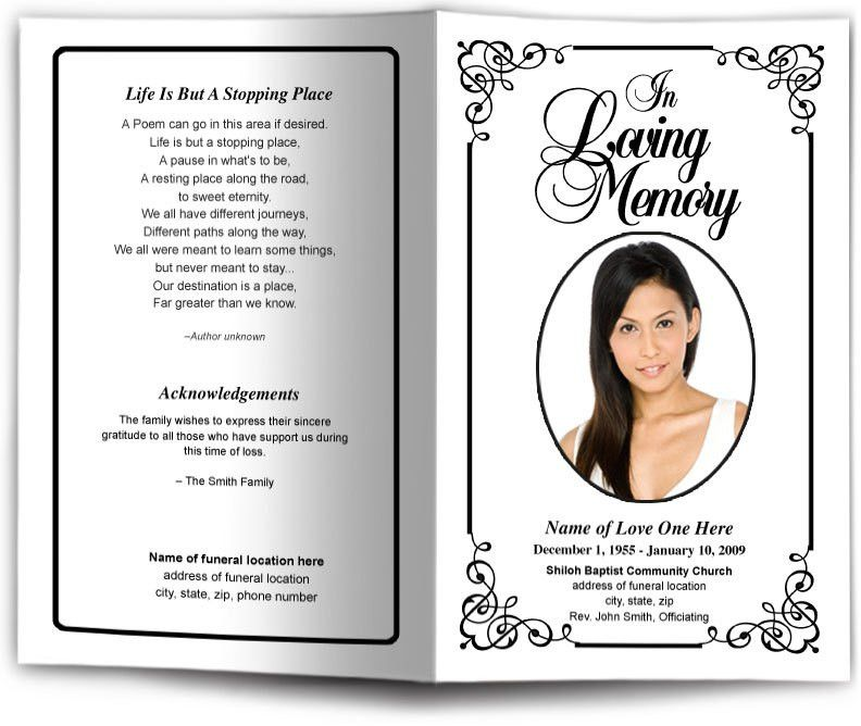 Funeral Program Template Designs  Memorial Pamphlet Template Free