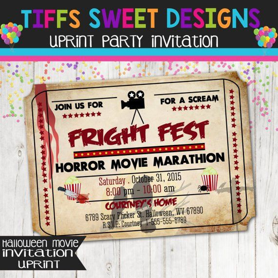 Printable Halloween Movie Night Ticket Invitation | Halloween ...