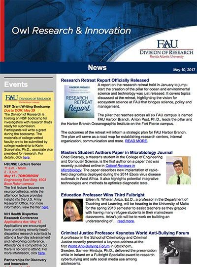 DOR Newsletter Archive : Florida Atlantic University