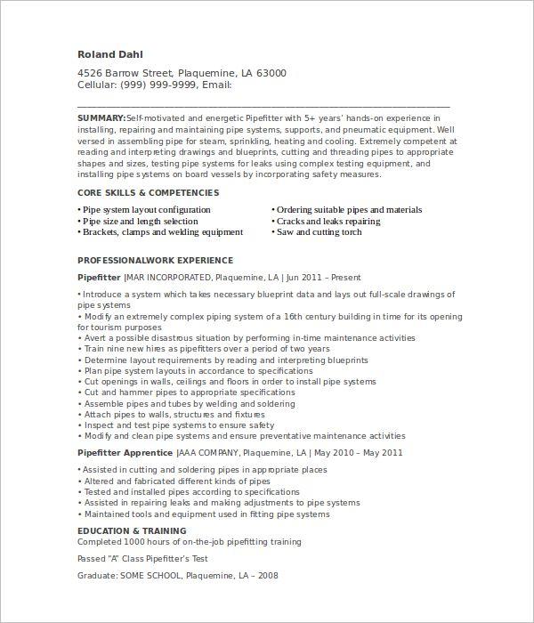 Pipefitter Resume Templates || Free & Premium Templates | Creative ...