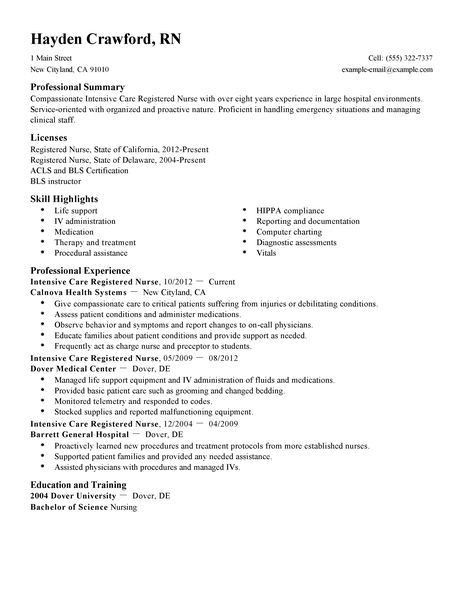 Best Intensive Care Nurse Resume Example | LiveCareer