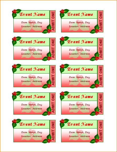 5 avery tickets | Outline Templates